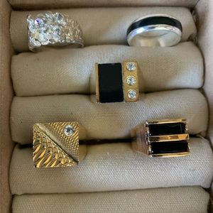 Vintage costume men's rings with enamel